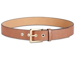 Michael Kors deco M quilted leather belt tan